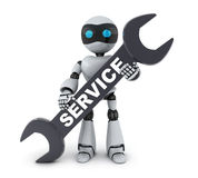 Robot and service sign Royalty Free Stock Photo