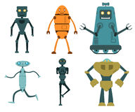 Robot set in flat style Royalty Free Stock Photos