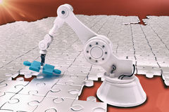 Robot setting up jigsaw puzzle 3d Royalty Free Stock Photo