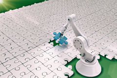 Robot setting up puzzle 3d Royalty Free Stock Photos