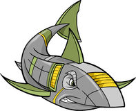 Robot Shark Vector. Steel Metal Robot Shark Vector Illustration Stock Photo