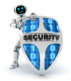 Robot and shield Royalty Free Stock Photography