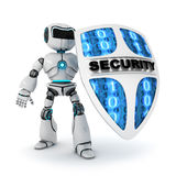 Robot and shield. Abstract robot and shield (done in 3d Royalty Free Stock Images