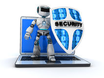 Robot and shield. Abstract robot and shield (done in 3d Royalty Free Stock Photography