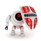 Robot and shield. Abstract robot and shield (done in 3d,isolated Royalty Free Stock Photography