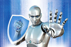 Robot with shield Stock Photo