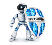 Robot and shield. Protecting robot and shield security. 3d illustration, isolated Royalty Free Stock Image