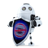 Robot with shield. Virus protection concept. Isolated. Contains clipping path Royalty Free Stock Photography