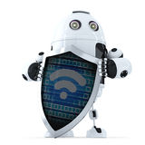 Robot with shield and wifi symbol on it. Internet security concept. Isolated. Contains clipping path Royalty Free Stock Image