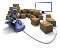 Robot with Shipping Boxes Royalty Free Stock Photos