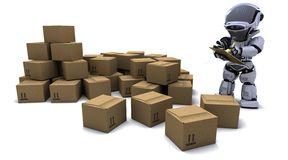 Robot with Shipping Boxes Stock Image