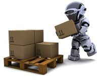 Robot with Shipping Boxes Royalty Free Stock Photography