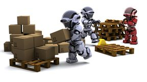 Robot with Shipping Boxes Stock Photos