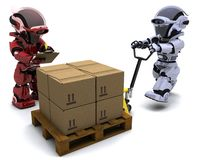 Robot with Shipping Boxes Stock Photo
