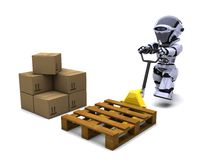 Robot with Shipping Boxes. 3D render of Robot with Shipping Boxes Royalty Free Stock Image