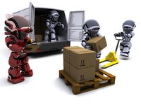 Robot with Shipping Boxes loading a van Stock Photography