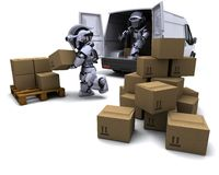 Robot with Shipping Boxes loading a van Royalty Free Stock Photography