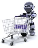 Robot shopping. 3D render of a robot shopping with a cart Stock Photography