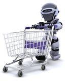 Robot shopping vector illustration