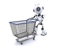Robot with shopping cart. 3D Render of a Robot with shopping cart Royalty Free Stock Images