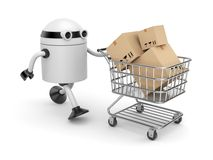 Robot with shopping cart filling boxes. New technologies metaphor. Separated on white Royalty Free Stock Images