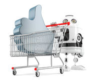 Robot with shopping cart and LIKE symbol. . Contains clipping path. 3d illustration. Robot with shopping cart and LIKE symbol.  over white. Contains clipping Stock Photos