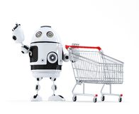 Robot with shopping cart pointing at invisible object Stock Photo