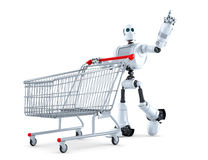 Robot with shopping cart pointing at invisible object. Isolated. Contains clipping path Stock Images