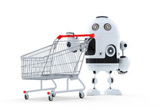 Robot with shopping cart. Royalty Free Stock Image