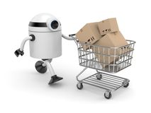 Robot with shopping cart. White Robot with shopping cart filling boxes Stock Images
