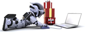 Robot shopping for gifts on a computer. 3D render of a robot shopping for gifts on a computer Stock Photos