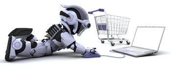 Robot shopping for gifts on a laptop. 3D render of a Robot shopping for gifts on a laptop Royalty Free Stock Images
