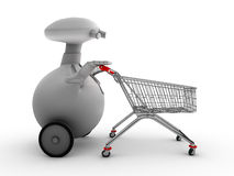 Robot with shopping trolley Stock Images
