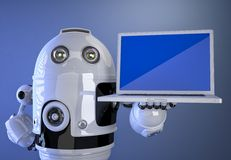 Robot shownig blank screen laptop Royalty Free Stock Images