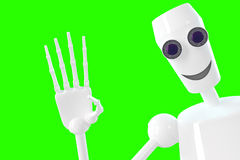 Robot shows gesture Hi. Robot shows a sign for the label. 3D model isolated green background royalty free illustration