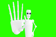 Robot shows gesture. Robot shows a sign for the label. 3D model isolated green background stock illustration