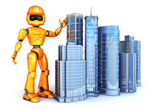 Robot shows new skyscrapers Stock Photography