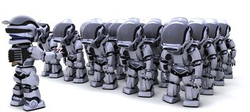 Robot shutting down army of robots. 3D render of a Robot shutting down an army of Robots Stock Photography