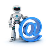 Robot and @. Robot and sign @ (done in 3d Royalty Free Stock Images