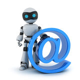 Robot and sign email. Robot and sign @ (done in 3d Royalty Free Stock Photos