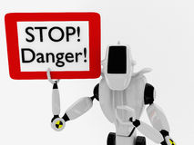 A robot with a sign Stock Photo