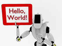 A robot with a sign Royalty Free Stock Images