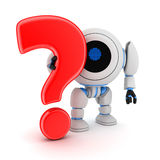 Robot and sign question Royalty Free Stock Photos