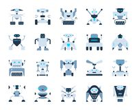 Free Robot Simple Flat Color Icons Vector Set Stock Photo - 121649480