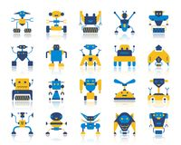 Free Robot Simple Flat Color Icons Vector Set Royalty Free Stock Photography - 121650987