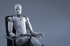 Robot sit on office chair. 3d rendering humanoid robot sit on office chair Stock Image