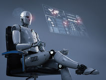 Robot sit on office chair. 3d rendering humanoid robot sit on office chair Stock Photo