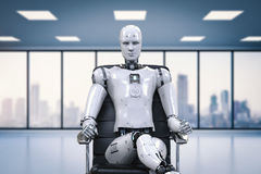 Robot sit on office chair. 3d rendering humanoid robot sit on office chair Royalty Free Stock Images