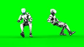Robot is siting. Realistic motion and reflections. 4K green screen footage.