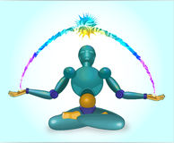 The robot sits in a lotus pose. Robot meditates in a pose of a lotus and radiates energy Royalty Free Stock Images